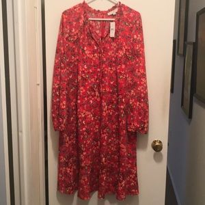 Red floral long sleeve dress